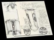 BLADE RUNNER (1982) - Syd Mead Hand-Drawn 'Kiosk' Concept Artwork with Descriptions
