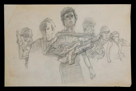 ALIENS (1986) - Terry Lamb Hand-Drawn Poster Concept Art