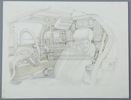 BACK TO THE FUTURE (1985) - Ron Cobb Hand-Drawn DeLorean Interior Artwork