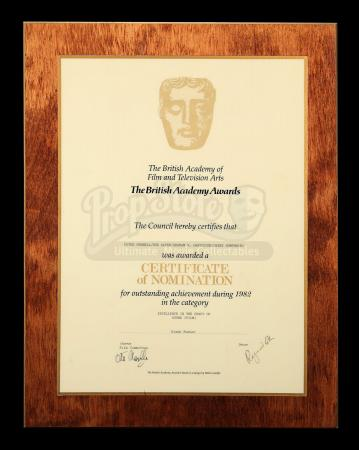 BLADE RUNNER (1982) - BAFTA Certificate of Nomination