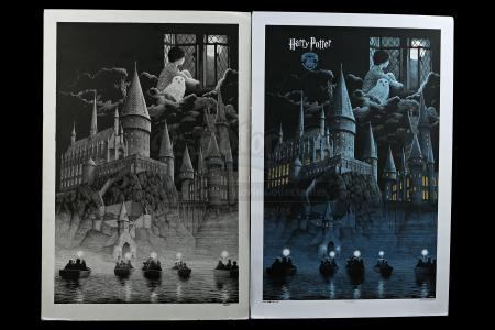 HARRY POTTER AND THE PHILOSOPHER'S STONE (2001) - Gerhard Hand-Drawn 2016 Dark Hall Mansion Poster Artwork and Signed Print