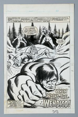 WOLVERINE / MIGHTY WORLD OF MARVEL #199 (1976) - John Romita Jr. and Duffy Vohland Hand-Drawn Hulk and Wolverine Page 1 Title Splash UK Reprint Artwork